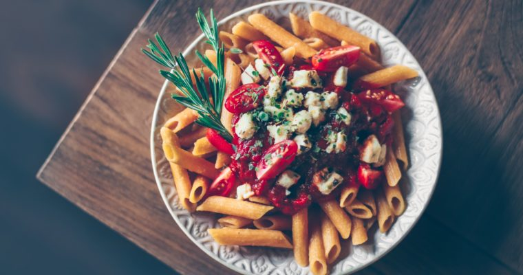 Lentil penne with vegan bolognese