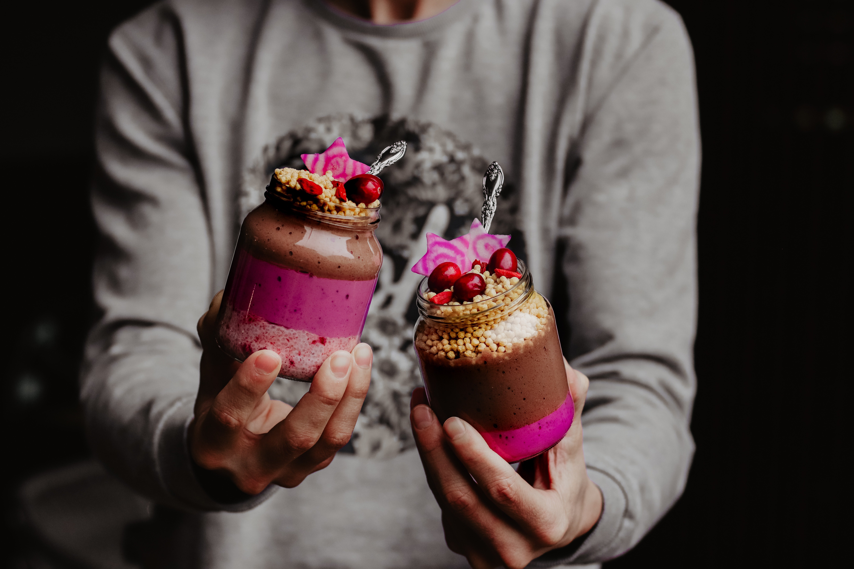 Pinke Frühstücksgläser (für jede Saison)